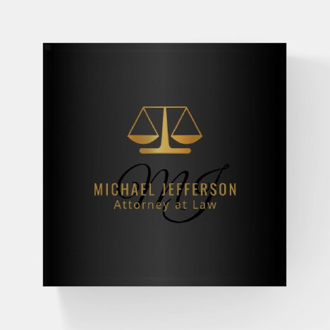 Monogram Lawyer Design - Black and Gold Paperweight
