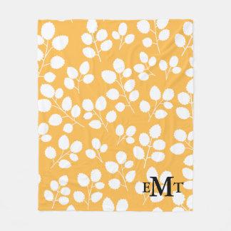 Monogram Leaf Pattern Fleece Blanket