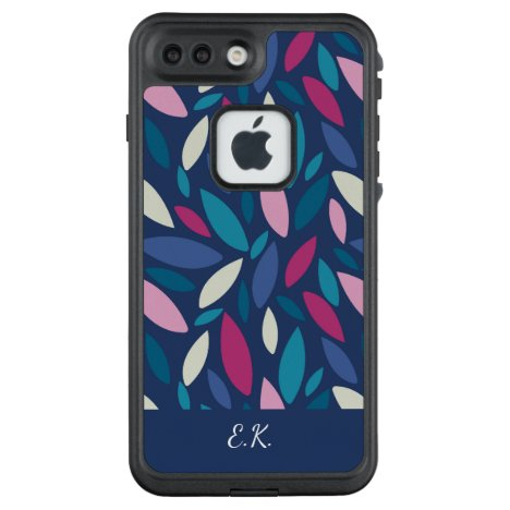 Monogram leaf shapes in blue and pink tones LifeProof FRĒ iPhone 7 plus case