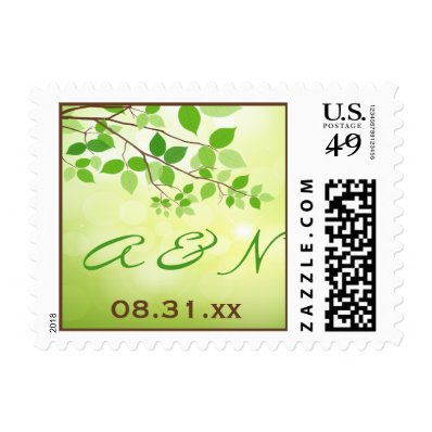Monogram Leafy Branch Camping or Nature Wedding Stamp