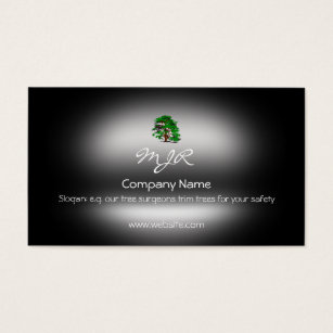 Green metallic look business cards templates zazzle monogram leafy green tree metallic effect business card reheart