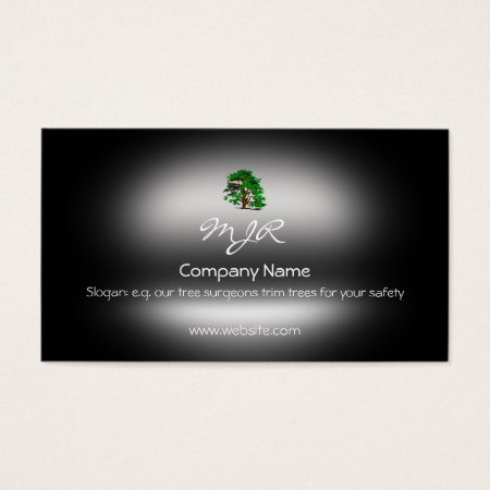 Monogram, Leafy Green Tree, metallic-effect Business Card