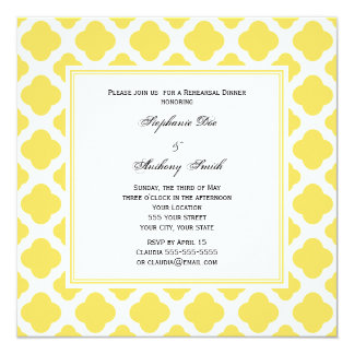 Monogram Lemon Yellow and White Quatrefoil Pattern Card