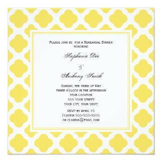 Monogram Lemon Yellow and White Quatrefoil Pattern Card
