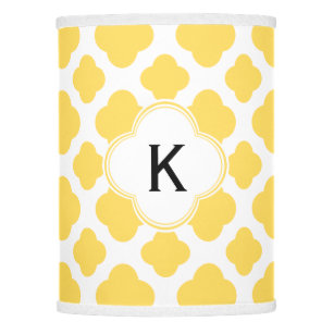 Lemons lamp shades zazzle monogram lemon yellow and white quatrefoil pattern lamp shade aloadofball Image collections
