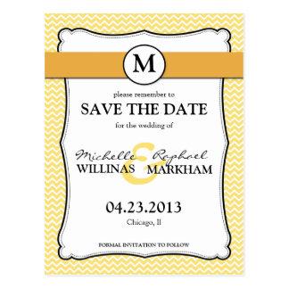 Monogram Lemon Yellow Chevron Bridal Shower Postcard
