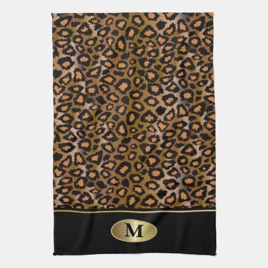 Monogram Leopard Animal Print Hand Towel