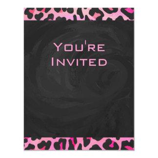 Monogram Leopard Black and Hot Pink Print Card