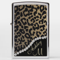 Monogram Leopard Glitter and Diamonds Zippo Lighter