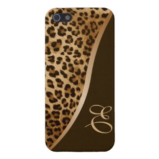 Monogram Leopard Pattern iPhone 5 Glossy Case Case For iPhone 5