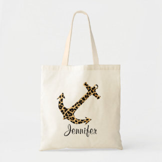 Monogram Leopard Print Anchor Custom Tote Bag