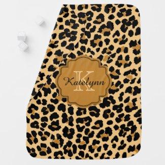 Monogram Leopard Print Custom Baby Blanket