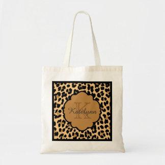 Monogram Leopard Print Custom Tote Bag