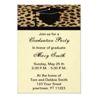Monogram Leopard Print Graduation Party Invitation