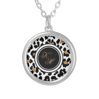 Monogram Leopard Print Initials Necklace