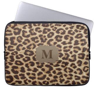 Monogram Leopard Print Laptop Sleeve