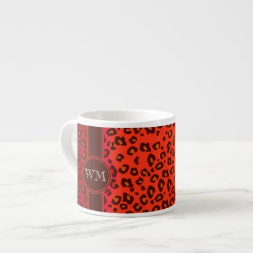 Coffee Themed Monogram leopard print orange coffee espresso mug