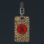 """Monogram Leopard Print Red Accent Luggage Tag<br><div class=""""desc"""">Travel in style with this trendy monogram leopard print luggage tag that features a red accent frame on the front for your monogram initial and a black frame on the back for your information. A cool and fun way to decorate and identify your luggage. Show your personality with this fun...</div>"""