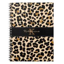 Monogram Leopard Print Spiral Notebook