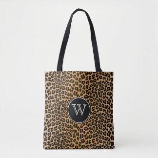 Monogram leopard tote bag