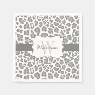 Monogram Leopard White and Gray Cocktail Napkin