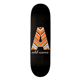 Monogram Letter A - Black Orange Chevron Pattern Skateboard Deck