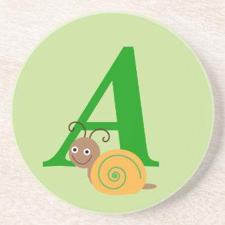 Monogram letter A brian the snail fun coaster