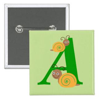 Monogram letter A brian the snail kids button, pin