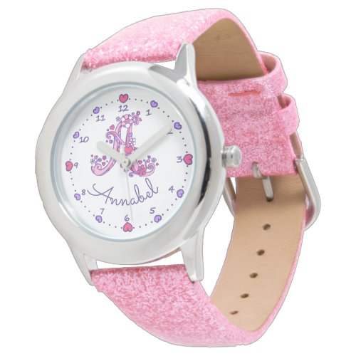 Monogram letter A doodle heart girls name watch