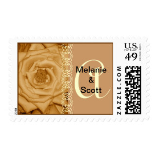 Monogram Letter A Gold Roses Stamp