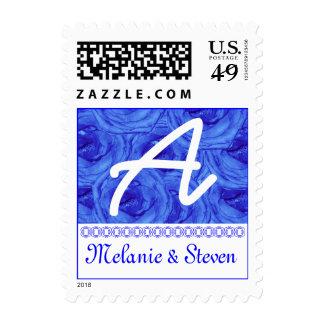 Monogram Letter A Light Blue Roses Stamp
