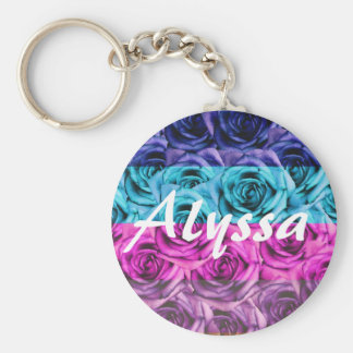 Monogram Letter A Multi Color Roses Keychain