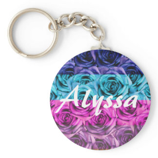 Monogram Letter A Multi Color Roses Keychain