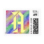 Monogram Letter A Rainbow Color Design Sticker Postage Stamps