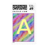 Monogram Letter A Rainbow Color Design Sticker Stamp