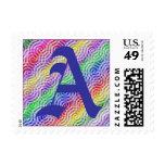 Monogram Letter A Rainbow Color Design Sticker Postage Stamp