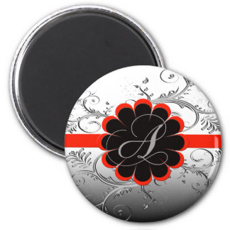 Monogram Letter A Red 2 Inch Round Magnet