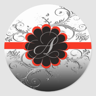 Monogram Letter A Red Classic Round Sticker