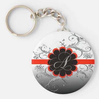 Monogram Letter A Red Keychain