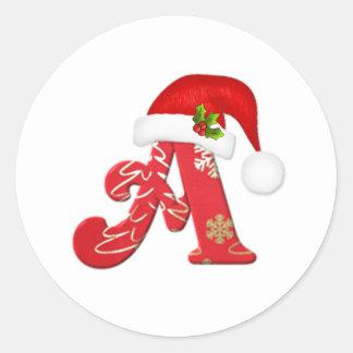Monogram letter A, Santa hat Christmas  Sticker