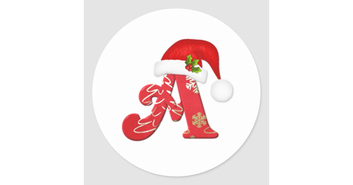 Monogram Letter A Santa Hat Christmas Sticker Zazzle Com