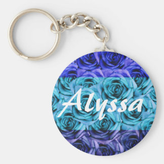 Monogram Letter A Tri Color Blue Roses Keychain