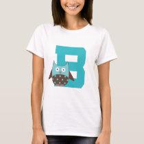 Monogram Letter B Alphabet Owl T-Shirt