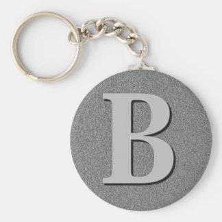 Monogram Letter B Basic Round Button Keychain