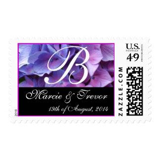 Monogram Letter B Blue Hydrangea Wedding Stamp