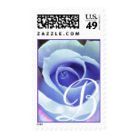 Monogram Letter B Blue Rose Stamp