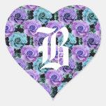 Monogram Letter B Blue Roses Heart Sticker