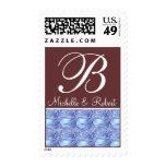 Monogram Letter B Blue Roses Stamp