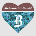 Monogram Letter B Blue Roses Sticker