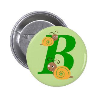 Monogram letter B brian the snail kids button, pin